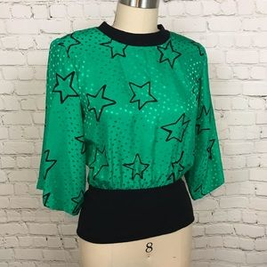 Vintage Emerald green & Black STAR PolkaDot Top S